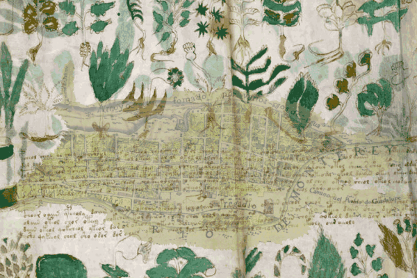 This image was created by Edward Wells using two public domain images: a 1765 map of Monterrey, Nuevo Leon, Mexico, and two pages from the Voynich manuscript